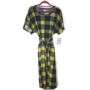 Plaid Marly Dress LuLaRoe 3X BNWT Yellow & Blue